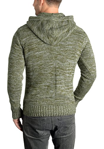 SOLID Pancras Herren Zip-Hoodie Strickjacke Cardigan mit Kapuze aus 100% Baumwolle Meliert Ivy Green (3797)