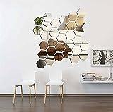 AOK DOOR Miroir mural à miroir hexagonal pour carreaux de miroir auto-adhésif...