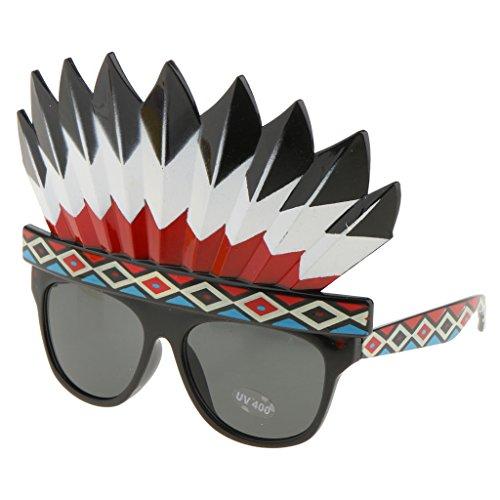 Fenteer Lustiges Party Brillen Halloween Kostüm Abendkleid Zubehör - Indian Native American, 13 x 16 cm