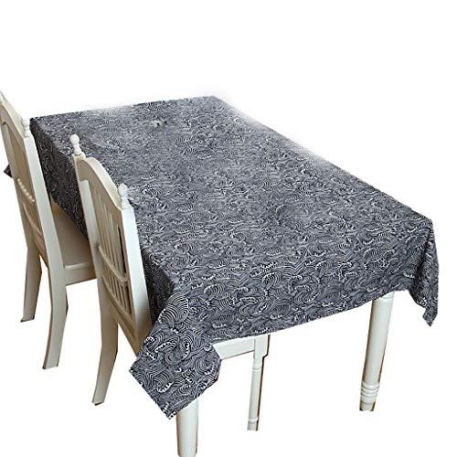 ZHANGY Rechtecktische Tischdecken japanischen Stil Flachs Welle ländlichen Stil Couchtisch Tischdekoration ideal für Buffet-Tisch, Parteien, Urlaub Abendessen,140X180CM (Folie Abendessen)