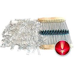 Tenflyer Rojo 5mm LED Diodo + Resistencia Eléctrica 100 piezas en 1 Set