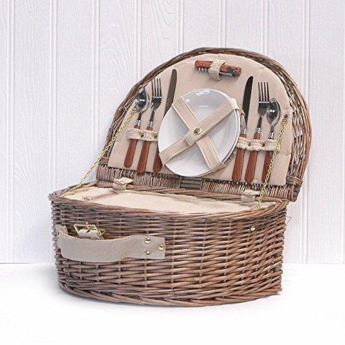 Traditioneller Weiden Picknickkorb 'Westbury' Für 2 Personen Mit Integriertem Kühlfach - Ein Idealer Geschenkkorb Für Weihnachten, Geburtstag, Hochzeit
