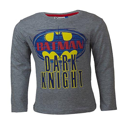 DC Comics Batman Kinder Langarmshirt aus 100% Jersey Baumwolle, Justice League Superhelden Langarm T-Shirt fr Jungen - Shirt Farbe: Grau, Gr. 128