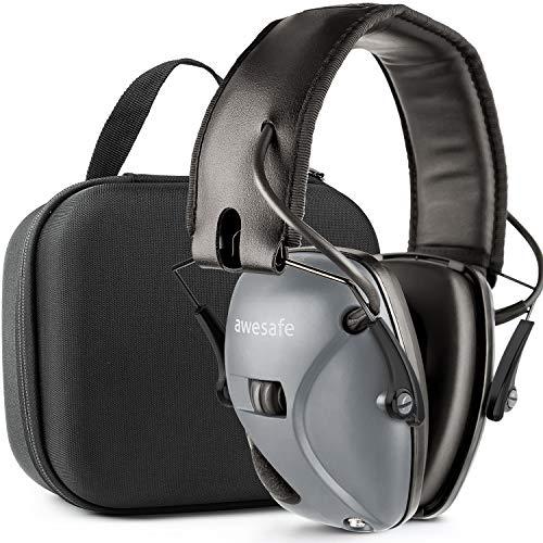 awesafe Gehörschutz für Schießstand, Elektronischer Gehörschutz für Schlagsport [Kommt mit Hard Travel Lagerung Tragetasche], Gehörschutz, NRR 22 dB, Ideal für Schützen und Hunting