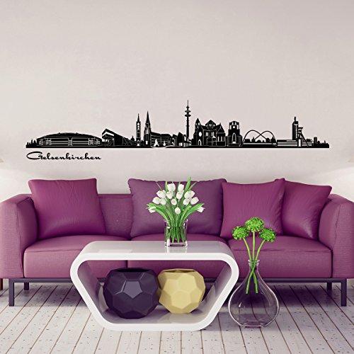 Preisvergleich Produktbild Wandkings Skyline - Deine Stadt wählbar - Gelsenkirchen - 125 x 20 cm - Wandaufkleber Wandsticker Wandtattoo