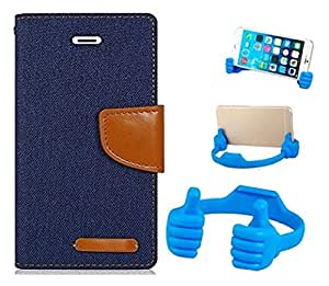 Aart Fancy Wallet Dairy Jeans Flip Case Cover for Asuszen-5 (NavyBlue) + Flexible Portable Mount Cradle Thumb OK Designed Stand Holder By Aart Store.