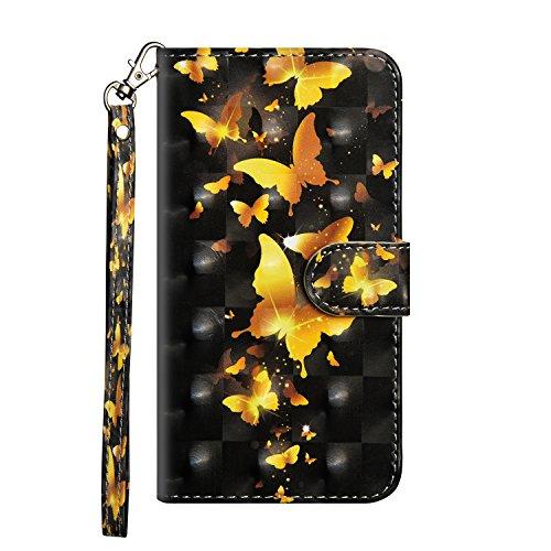 Sunrive Hülle Für LG K4 / K8 2017, Magnetisch Schaltfläche Ledertasche Schutzhülle Case Handyhülle Schalen Handy Tasche Lederhülle(Goldener Schmetterling)+Gratis Universal Eingabestift