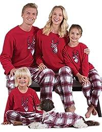 Aibrou Pigiama Famiglia Natale Set, Pigiama Natalizio Famiglia per Neonato Bambino papà Mamma, Pigiami Natale per Famiglia Manica Lunga e Reticolo Pantaloni, Pigiami Famiglia Coordinati