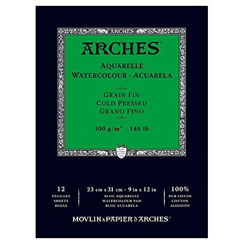 Arches - Papel de acuarela, bloc 12 hojas engomado 1 lado, grano fino, 300 g/m², 23 x 31 cm
