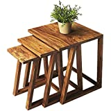 Santosha Decor Solid Sheesham Wood Nesting Tables / End Table / Bedside Table / Set of 3 Stool Set / Kids Study Table - Living Room Table