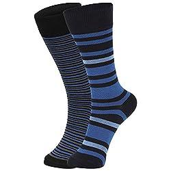 DUKK Men's Blue Crew Length Cotton Lycra Socks (Pack of 2)