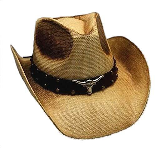 Western Ranch Strohhut Cowboyhut beige braun geflammt mit Leder - Hutband Longhorn und Nieten (57-58)