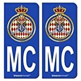 Automobile Accessories Best Deals - 2 Autocollants immatriculation Auto - MC Automobile Club de Monaco - Blason