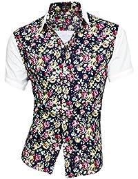 Point Collier pour homme à boutonnière simple T-Shirt imprimé Floral