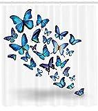 ABAKUHAUS Farfalle Tenda da Doccia, Gruppo di Farfalle Che Volano Parco Naturale Bottanico Feste Primaverili, Tessuto Artificiale Stampato con 12 Anelli, 175 x 200 cm, Azzurro Cielo