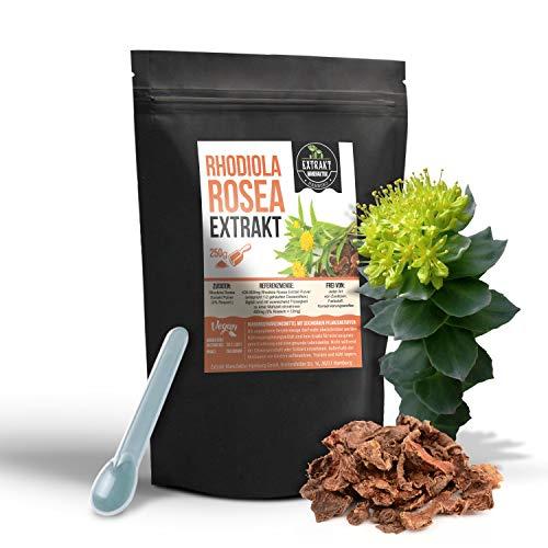 Rhodiola Rosea EXTRAKT | 3% Rosavin | 250g PULVER | Rosenwurz ohne Zusatzstoffe und laborgeprüft | hochdosiert vegan und in Deutschland abgefüllt (Pulver 250g)