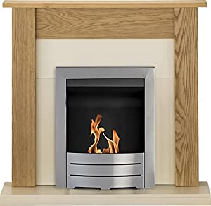 Adam Southwold Fireplace Suite in Oak with Colorado Bio Ethanol Fire in Brushed Steel, 43 Inch