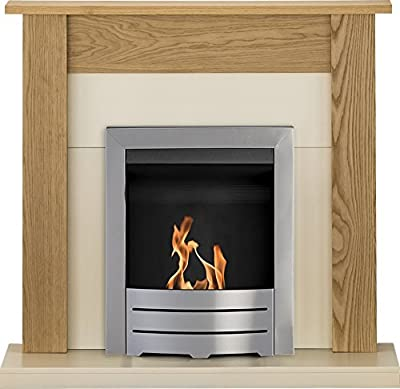 Adam Southwold Fireplace Suite in Oak with Colorado Bio Ethanol Fire in Brushed Steel, 43 Inch
