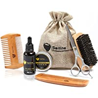 Kit para el cuidado y corte de barba, para hombres de SAILINE; cepillo para barba, 2 peines, acondicionador de aceite para barba y bigote, bálsamo, cera, tijeras de peluquero; 6 en 1, regalo de viaje, set portátil, viene con el estuche