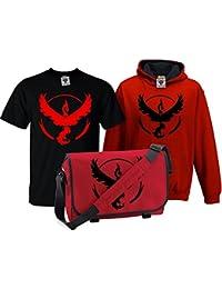Bullshirt 's Kid 's Deluxe Team Valor T-Shirt, Kontrast Hoodie & Messenger tasche Set