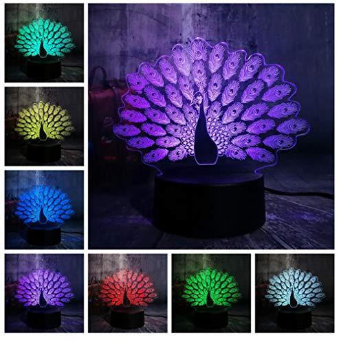 Hauptdekorationen New Peacock Peahen Open Screen 3D Nachtlicht House Decor LED Weihnachtsgeschenk Tischlampe 7 Farbwechsel Fernbedienung Kid Geschenk -