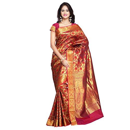Varkala Silk Sarees Blended Saree (Ns5101Rdv_Red & Violet)