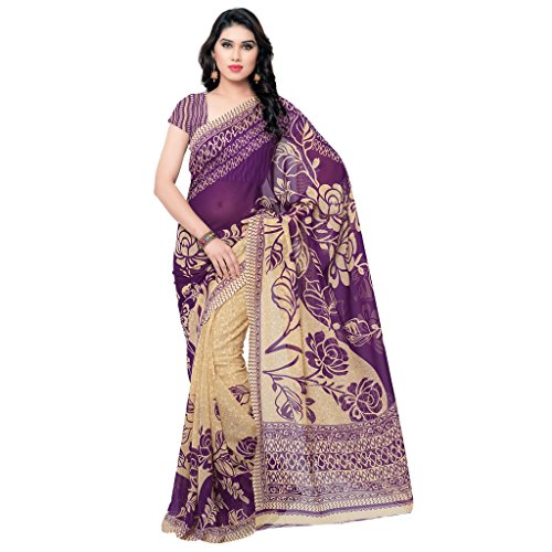 Anand Sarees Women's Faux Georgette Saree (1086_6_Purple and Beige)  available at amazon for Rs.249