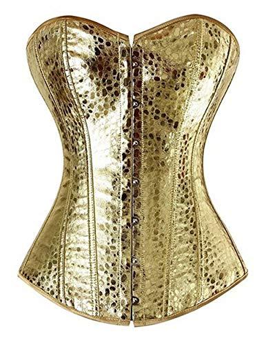 aizen Deman Klassisch Corsage Korsett Kunstleder Front Zipper Reissverschluss Bustiers mit G-String übergröße Silber Gold 6XL