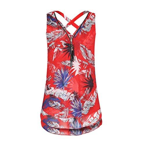 JUTOO Frauen Lose Sleeveless Tank Top Kreuz Zurück Saum Layed Reißverschluss V-Ausschnitt T-Shirts Tops(V-Rot, EU:42/CN:L)