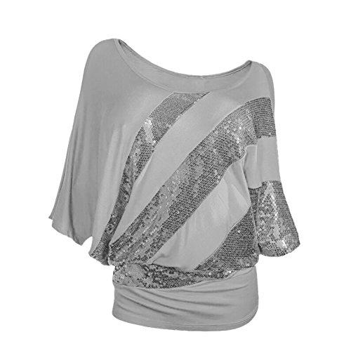 Mena UK Damen Sexy Runde Kragen Batwing Ärmel Top Plus Größen Kurze T-Shirt Größen S-XXXL Grau