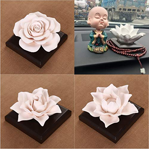 Reed Diffuser Sets - White Ceramic Rose Flower Essential Scent Oils Diffuser Car Decor Air Refreshing Meditated - Diffuser Essential Oils Sets Reed Reed Diffuser Sets Room Scent Ceramic Flow -