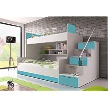 Wohnenluxus Etagenbett Roterdam / 90x200 / Doppelhochbett Mit Viel  Staumraum/Kinderhochbett / Stockbett Farbe Türkis