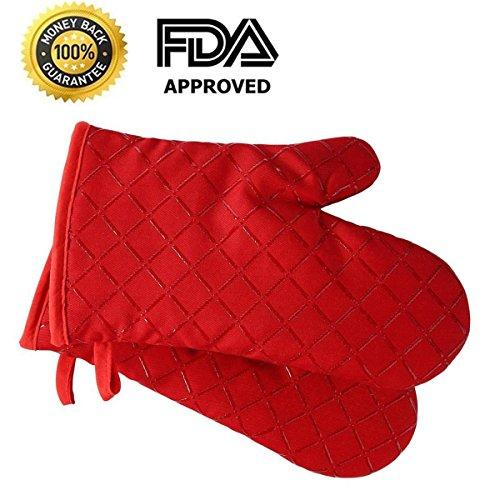 Premium Anti-Rutsch Ofenhandschuhe (2er Set) bis zu 240 °C - Silikon Extrem Hitzebeständige Grillhandschuhe BBQ Handschuhe - Backofen Handschuhe, zum Kochen, Backen, Barbecue Isolation Pads (Rot) (Waschmaschine Isolation)