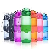 Grsta Bottiglia d'Acqua Sportiva Senza BPA - Riutilizzabile Borraccia in plastica tritan 500ml/17oz, Ideale Bottiglie per Bambini, Scuola, Ufficio, Bici, Calcio, Fitness, Yoga, borracce (Verde)