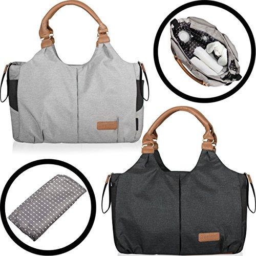 Wickeltasche (+ Wickelunterlage und isolierter Getränketasche) Baby Tasche mit Befestigung für Kinderwagen Buggy (SCHWARZ)