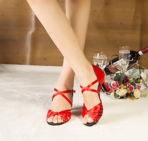 Minitoo–th123nodo cinturino alla caviglia in raso matrimonio ballo Latina taogo Dance Sandals Red