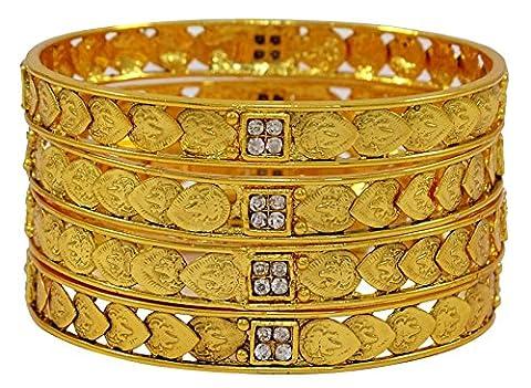 Matra Goldtone Ginni Coin CZ Pierre 4 pièces Kada Bangle Ensemble des femmes d'origine indienne 2 * 4 bijoux