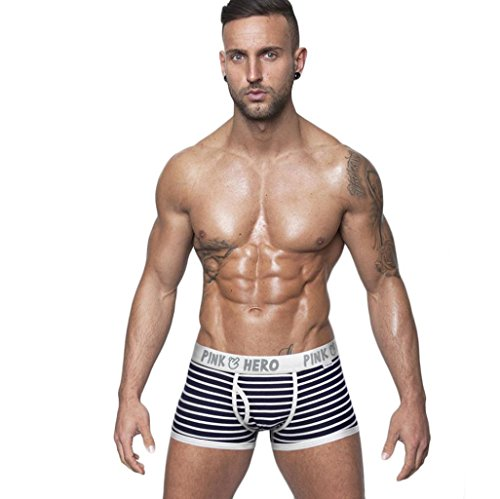 underwear herren sport Kolylong 1PC Herren Unterwäsche Striped Fringe Unterhos Boxer Briefs (L, Schwarz) (Low-rise-performance-hose)