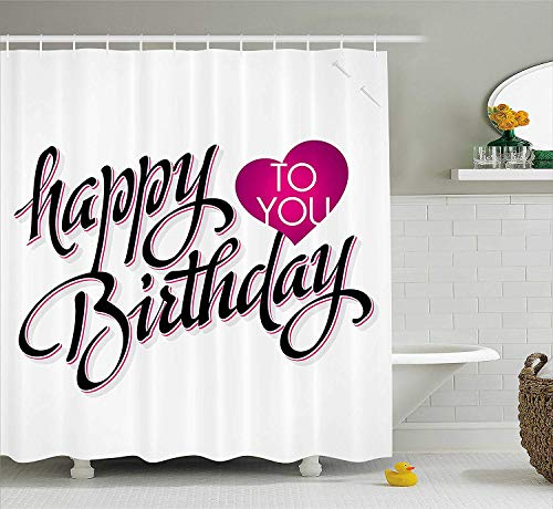 Birthday Decorations Shower Curtain, Pink Strawberry Cupcake with Candle Cute Face Confetti Bow Tie Dots, Fabric Bathroom Decor Set with Hooks, 60W X 72L Inche, Multicolor