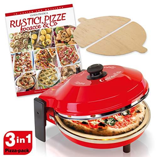 SPICE - Forno Pizza CALIENTE con pietra refrattaria 32 cm 400 gradi Resistenza circolare + 2 Palette in Legno + Ricettario Rustici Pizze Focacce