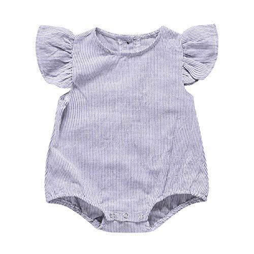 Vertikale Rüschen Top (Borlai Neugeborenes Baby Baumwollspielanzug vertikal gestreifte Rüschen Onesie Outfit Overall (Size : 18-24M))