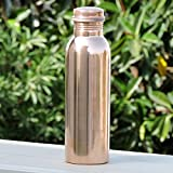 Copper Water Bottle,Premium Copper Yoga Water Bottle or Thermos Flask 34oz Capacity with 99.5% Purity- Handmade,Joint Free & Leak Proof for Ayurvedic Health Benefits,Sports