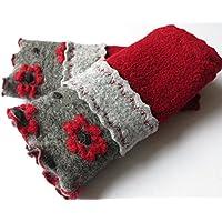 Armstulpen / Pulswärmer aus Walkwolle (Walk, Walkstoff) in Dunkelrot, Hellgrau und Dunkelgrau mit Rotblumen-Relief; Bort, Zierstiche