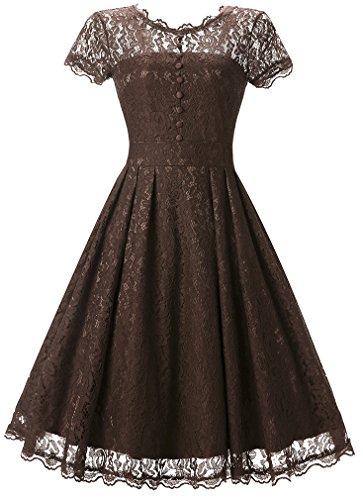 FLYCHEN Damen Elegant Kleider Vintage 1950s Spitzenkleid Cocktailkleid Knielange Swing...