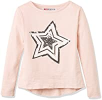 RED WAGON Girl's Star Tee L/S Top, Pink, 4 Years