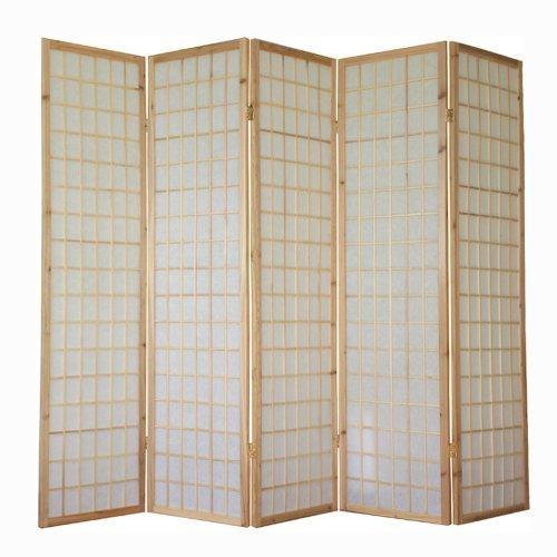 Homestyle4u 5 fach Paravent Raumteiler - Holz Trennwand Shoji in natur Reispapier weiß