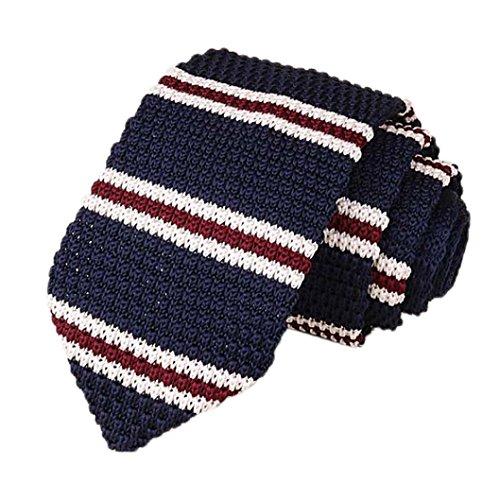Los Hombres De Punto Crochet Rayas Corbata Boda Fiesta CláSica Corbatas De Cuello (C, 148*7*4cm/57.2*2.8*1.6')