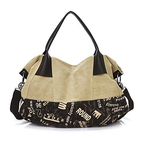 Wewod Canvas Große Damenhandtaschen Shopping-tasche Umhängetasche--57*21*43 cm/Stripe Design Weißer Reis