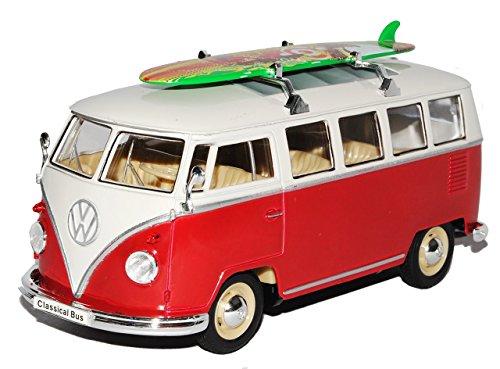 VW Volkswagen T1 Rot Weiss mit Surfbrett Samba Bully Bus 1950-1967 1/24 Welly Modell Auto mit individiuellem Wunschkennzeichen