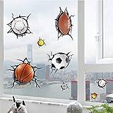 Mddrr Simulazione 3D Rotto Calcio Basket Pallavolo Biliardo Baseball Cartoon Adesivi Murali Ghiaccio Crepa Adesivo Finestra Decorativa